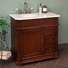 """36"""" Loudon Vanity Cabinet with Offset Bowl - Cherry"""