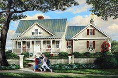 Something similar to this roof line and porch House Plan 137-266