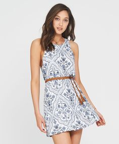 Tigerlily Sabine High Neck Floral Dress - White
