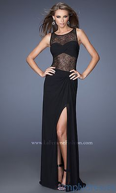FLoor Length Sleeveless Dress with Sheer Bodice at SimplyDresses.com