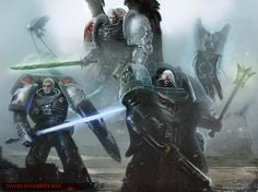 Deathwatch Kill-team, Marines hailing from the Storm Wardens, Dark Angels, and Blood Angels Chapters. Warhammer 40k Art, Warhammer 40k Miniatures, Grey Knights, Deathwatch, Space Wolves, Sci Fi Fantasy, Fantasy Heroes, Angel Of Death, The Grim
