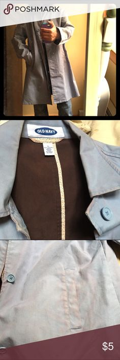💦Old Navy trench coat Light blue button up trench coat.  Interior brown.  Some of the brown interior tinted the outer blue of the coat (see 3rd image) Old Navy Jackets & Coats Trench Coats