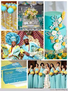 Nigerian Wedding Colors: Mint Blue & Yellow