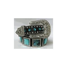 2-Large Square Crystal Belt Black/Aqua 1066 ❤ liked on Polyvore featuring accessories