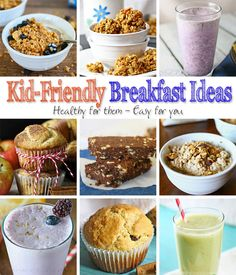 September is Better Breakfast Month. Here are some Kid Friendly Breakfast Ideas including homemade Blueberry Granola Cereal to get you started. What's For Breakfast, Breakfast Recipes, Good Food, Yummy Food, Healthy Food, Granola Cereal, Kid Friendly Meals, Kids Meals, Food To Make