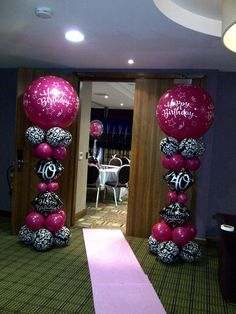 Welcome to Party Buds' Balloon World! - Professional Balloon Decorators: Wild Berry Pink and Black Damask - birthday 40th Birthday Balloons, 40th Birthday Parties, 40 Birthday, Birthday Sayings, Birthday Cakes, 40th Party Ideas, 40th Bday Ideas, Birthday Ideas, Birthday Balloon Decorations
