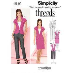 Simplicity 1919-K5 - Combi patroon, like the waterfall collar