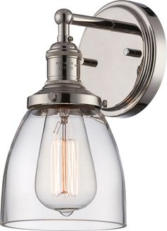 Description Vintage - 1 Light Sconce w/ Clear Glass - Vintage Lamp Included Specs Fixture Type: Vanity & Wall UL Application: Wall - Up or Down UL Classification: Damp Collection Name: Vintage Style: