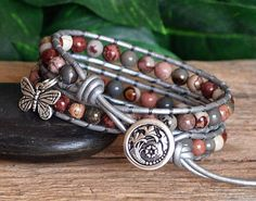 Gemstone and Leather Wrap Bracelet Pink Gray Cream and Silver