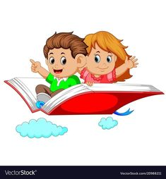 Happy kids flying on big open book Royalty Free Vector Image
