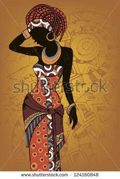 Ручной обращается иллюстрации Красивая черная женщина woman.African