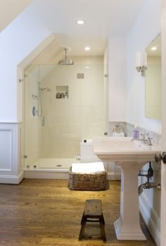 Remodel Bathroom Astounding Attic With Shower Room And White Pedestal Sinks Over Mirror Bathroom Design Ideas . Loft Bathroom, Upstairs Bathrooms, Basement Bathroom, Small Bathroom, Bathroom Ideas, Master Bathroom, Industrial Bathroom, Remodel Bathroom, Bathroom Designs