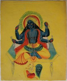 Kalighat collection: Vishnu. Watercolour on paper. Circa 3rd quarter 19th century. 25.5 x 21.6cm