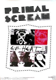 Primal Scream 2002 Evil Heat Original Swedish Promo Poster #primalscream