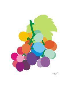 Kitchen art - Grapes print - Grapes painting - food art - Grapes by Pragya Kothari