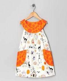 Take a look at this Cream Halloween Pocket Yoke Dress - Toddler & Girls by SILLY MILLY on #zulily today!