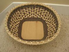 Green twill bowl Basket by BHBasketsNBeadworks on Etsy, $40.00