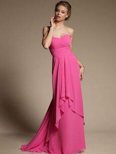 Exclusive Sweetheart Neckline Ruffle Column Pink Chiffon Floor Length Bridesmaid Dress $125