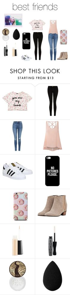 """""""best friends"""" by idkwifi on Polyvore featuring Forever 21, Current/Elliott, Topshop, Glamorous, adidas, Casetify, Golden Goose, MAC Cosmetics, tarte and beautyblender"""