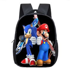21ad0c2930 Cartoon Mario   Sonic Backpack Children School Bags Baby Toddler Backpack  Kids Kindergarten Bag Boys Girls Bookbag Best Gift