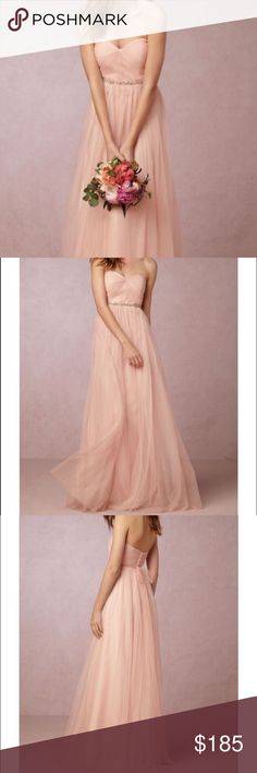 BHLDN Blush Annabelle Bridesmaid Dress DESCRIPTION & DETAILS from BHLDN.com Crafted of the softest, lightest tulle, this bias-cut, convertible dress is incredibly versatile – ties that blend into its long skirt can be styled 15+ ways so each bridesmaid's personality (and figure!) can shine. Color is exclusive to BHLDN By Jenny Yoo Removable tulle sash and sew-on spaghetti straps included Back zip with hook-and-eye closure Tulle; polyester lining Side boning Dry clean not included but only…