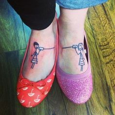 I really like the idea of this, & the pic is pretty cute, just maybe different stick people & defiantly not on the foot,