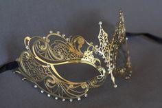 Gold masquerade mask. masquerade lace metal by Stefanelbeadwork $19