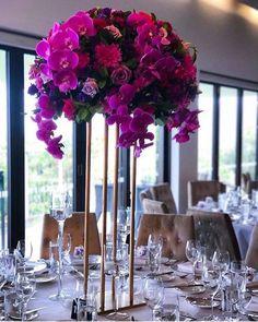 Wedding Decorations Elegant Purple Table Centerpieces 30 New Ideas Tall Wedding Centerpieces, Diy Centerpieces, Wedding Flower Arrangements, Flower Bouquet Wedding, Colorful Centerpieces, Flower Bouquets, Bridal Bouquets, Floral Arrangements, Purple Table Decorations