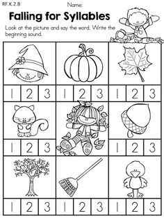 kindergarten worksheets about syllables - Google Search