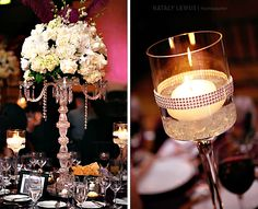 White flowers / roses centerpiece with purple uplights in the background. Candle holder with bling.