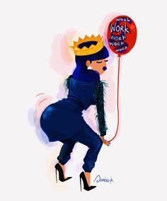 "Love this illustration of Rihanna's new #ANTI track""Work"" by artist Sanaa K. // Follow Sanaa #onhere: http://watermelonnchicks.tumblr.com"