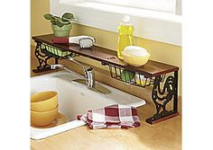 Cast Iron Rooster Over-the-Sink Shelf