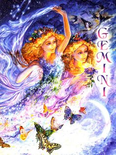 Josephine Wall's Zodiac Series-Gemini Josephine Wall, Zodiac Art, Zodiac Signs, Astrology Zodiac, Fantasy World, Fantasy Art, Fantasy Images, Pictures To Paint, Art Pictures