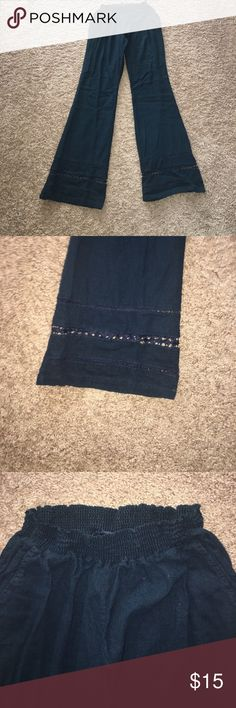 Linen pants Linen pants, very comfortable, worn 3 times, has pockets, elastic waist band, detailed bottoms, great condition BeBop Pants Wide Leg