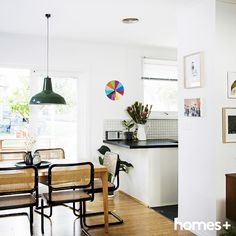 Carmen and Jeremy opted for an and and for their As featured in the June 2015 issue of homes+. Dining Room, Dining Table, Contemporary Style Homes, Timber Flooring, House And Home Magazine, Modern Chairs, Interior Inspiration, Office Desk, June