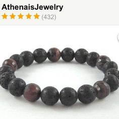 A bracelet that embodies Fire and Earth! Raw lava rocks and tiger eyes men beaded bracelet! Perfect for him!