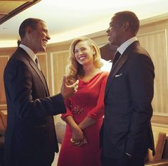 Obama, Jay-Z and Beyonce. Just a nice photo.