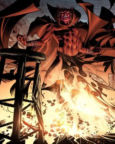 The evil, demonic Hell-Lord Mephisto comes from eons ago. The Elder Gods, immensely powerful, ruled Earth ages before The First Celestial Host stepped foot on Earth. The monster Atum drove them off, but their mystical energies remained and became the Hell-Lords. Mephisto was the first and is one of the most powerful.