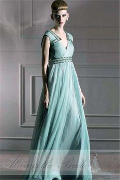 V-Neck Beaded Waistband & Shoulder Pleated Full Length Sleeveless Evening Dress Chiffon - Always the Bride