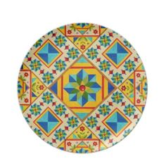 Rolling Star Quilt Design Dinner Plate by Patricia Shea Designs