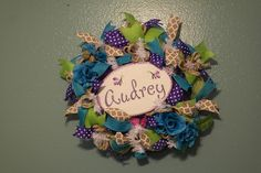 Custom Baby Deco Mesh Wreath, Baby Wreath, Baby Girl Wreath, Turquoise Baby Wreath, Purple Baby Wreath, Butterfly Wreath - www.kaylaskreationstx.etsy.com