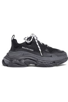 845086320 Balenciaga - Triple S Clear Sole Logo-embroidered Leather, Nubuck And Mesh  Sneakers - Black