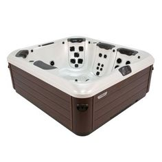Introducing the Bullfrog Spas A6L Hot Tub - The A6L is a space-saving spa that provide the features of much larger hot tubs. It is compact on the outside, roomy on the inside and can seat up to 6 adults. It will fit on most decks, balconies and patios. The A6L features your choice of JetPaks in 4 seats and a bent-knee lounger with calf and foot jets. Don't worry if you don't have space for a larger spa, the A6L ensures you won't miss out on therapy or comfort. #hottub #homeandgarden #spa #home