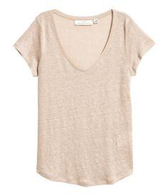 V-neck Linen Top | Light beige | Women | H&M US