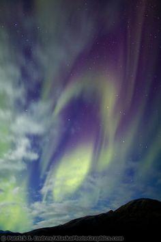 Aurora borealis over the Brooks mountains in Arctic Alaska