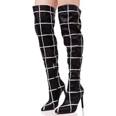 Grid Print Thigh High Boots ($41) ❤ liked on Polyvore featuring shoes, boots, over-knee boots, slouch boots, over-the-knee boots, over the knee thigh high boots and black thigh-high boots