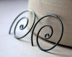 Oxidized Earrings. Black. Spiral. Oxidised. Simple. by Epheriell, $35.00