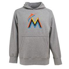 Miami Marlins MLB Signature Hood Applique Mens Hooded Sweatshirt Heath