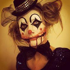 Bad ass clown! Makeup practice for the weekend #clown #clownmakeup #trickortweet…