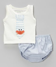 Off-White Crab Tie Tank & Blue Diaper Cover - Infant